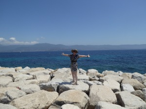 The bleached white rocks in Corsica